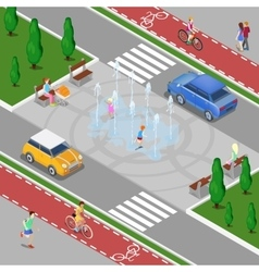 Isometric City Fountain with Children vector image