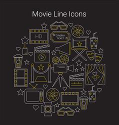 movie line icons set circular shaped vector image
