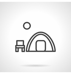 Overnight camp tent black line icon vector image vector image