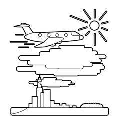 Plane flies over city concept outline style vector image