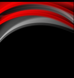 red and black smooth waves corporate background vector image vector image