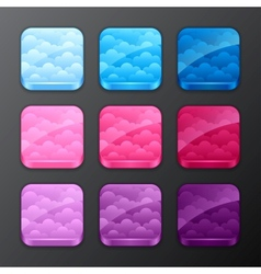 Set of backgrounds with clouds for the app icons vector image
