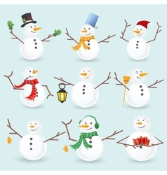 Winter christmas snowmans collection vector image vector image