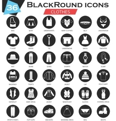 Clothes shoes circle white black icon set vector image