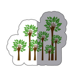 color trees with stem in form hand icon vector image vector image