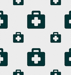 first aid kit icon sign Seamless pattern with vector image