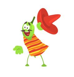 Funny cartoon smiling green pepper character vector