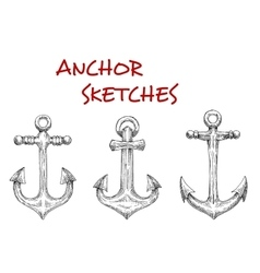 Marine ship anchors isolated sketches vector image vector image