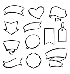 Set of black banners tags and labels vector image