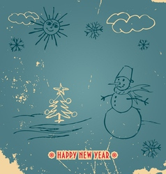 Happy New Year doodle vintage card vector image vector image