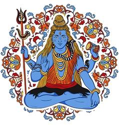 indian god shiva over ornate mandala background vector image