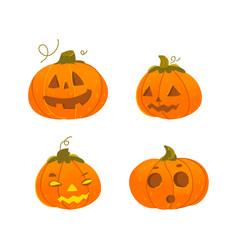 set of cartoon halloween pumpkin jack-o-lanterns vector image vector image