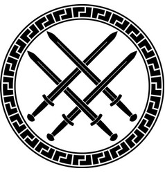 viking symbol with swords third variant vector image vector image
