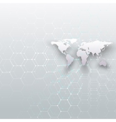 White world map connecting lines and dots on gray vector image vector image