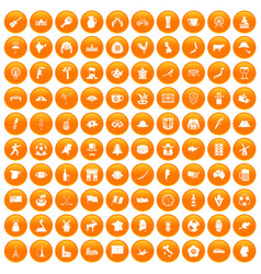 100 map icons set orange vector image