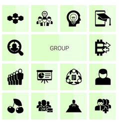 14 group filled icons set isolated on white vector