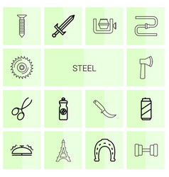 14 steel icons vector