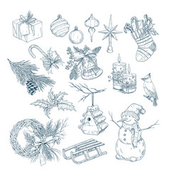 2018 new year and christmas isolated sketches vector image