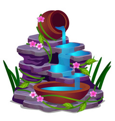 a low rocky waterfall and plants isolated on a vector image
