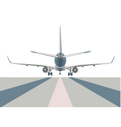 Airliner over runway vector