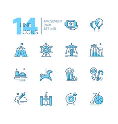 amusement park - set of line design style icons vector image