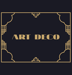 Art deco frame vintage linear border design a vector