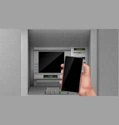 atm and smartphone in hand bank finance terminal vector image