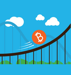 Bitcoin coin on roller-coaster vector