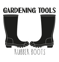Black and white rubber boots silhouette vector