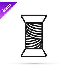 Black line sewing thread on spool icon isolated on vector