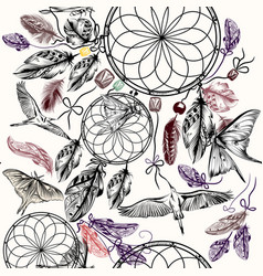 Boho seamless background with hand drawn dream vector