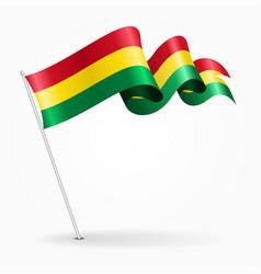 Bolivian pin wavy flag vector