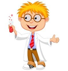 Boy cartoon doing holding reaction tube vector image