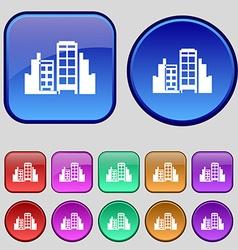 Buildings icon sign A set of twelve vintage vector image