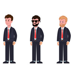 Cartoon characters classic suit and tie side view vector