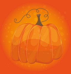 cartoon pumpkin on orange color background - vector image