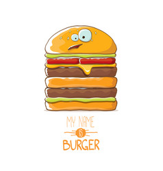 Cartoon smiling big burger character with vector