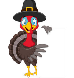 cartoon turkey holding blank sign vector image