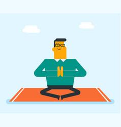 caucasian white man meditating in lotus pose vector image