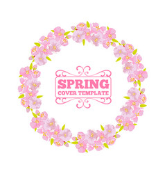 cherry blossom wreath frame for invitation or vector image