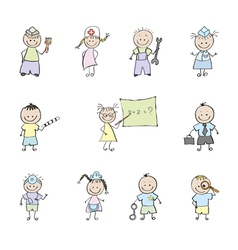 Children in uniforms vector