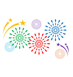 colorful fireworks decorations vector image