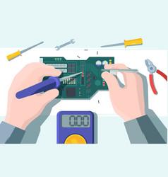 computer board repair soldering vector image
