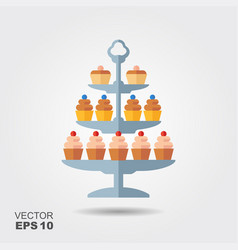 confectionery icon cupcakes with berries vector image