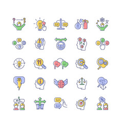 Critical thinking rgb color icons set vector