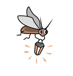 Cute cartoon firefly with flashlight character vector