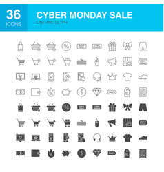 Cyber monday line web glyph icons vector
