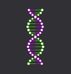 Dna strand symbol isolated on black background vector