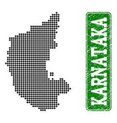 Dotted map of karnataka state and grunge rectangle vector