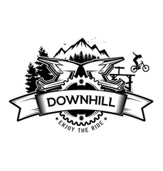 Downhill mountain biking the emblem the vector